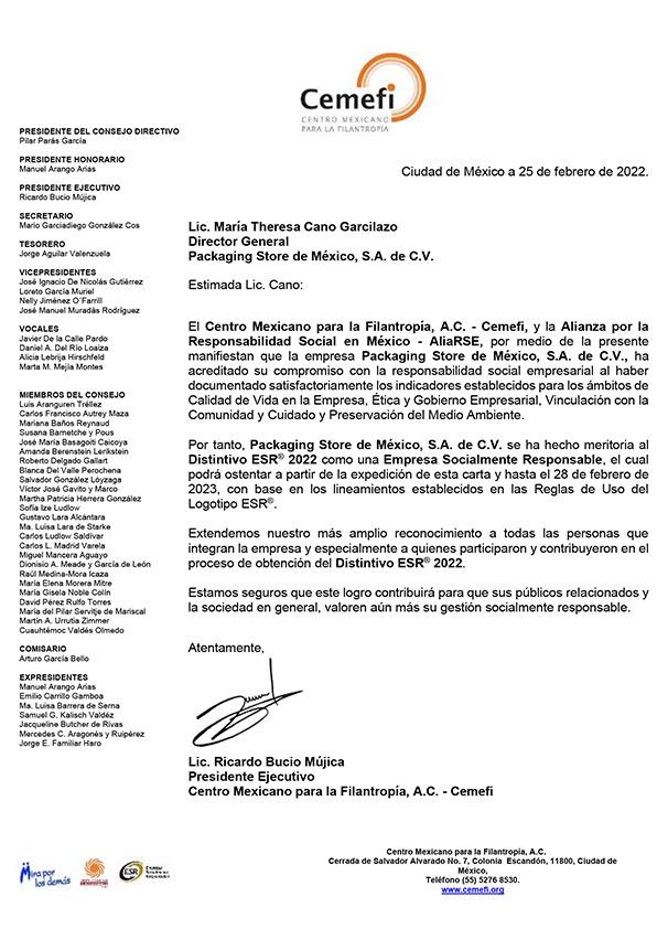 Certificado ESR Packaging Sore México 2021